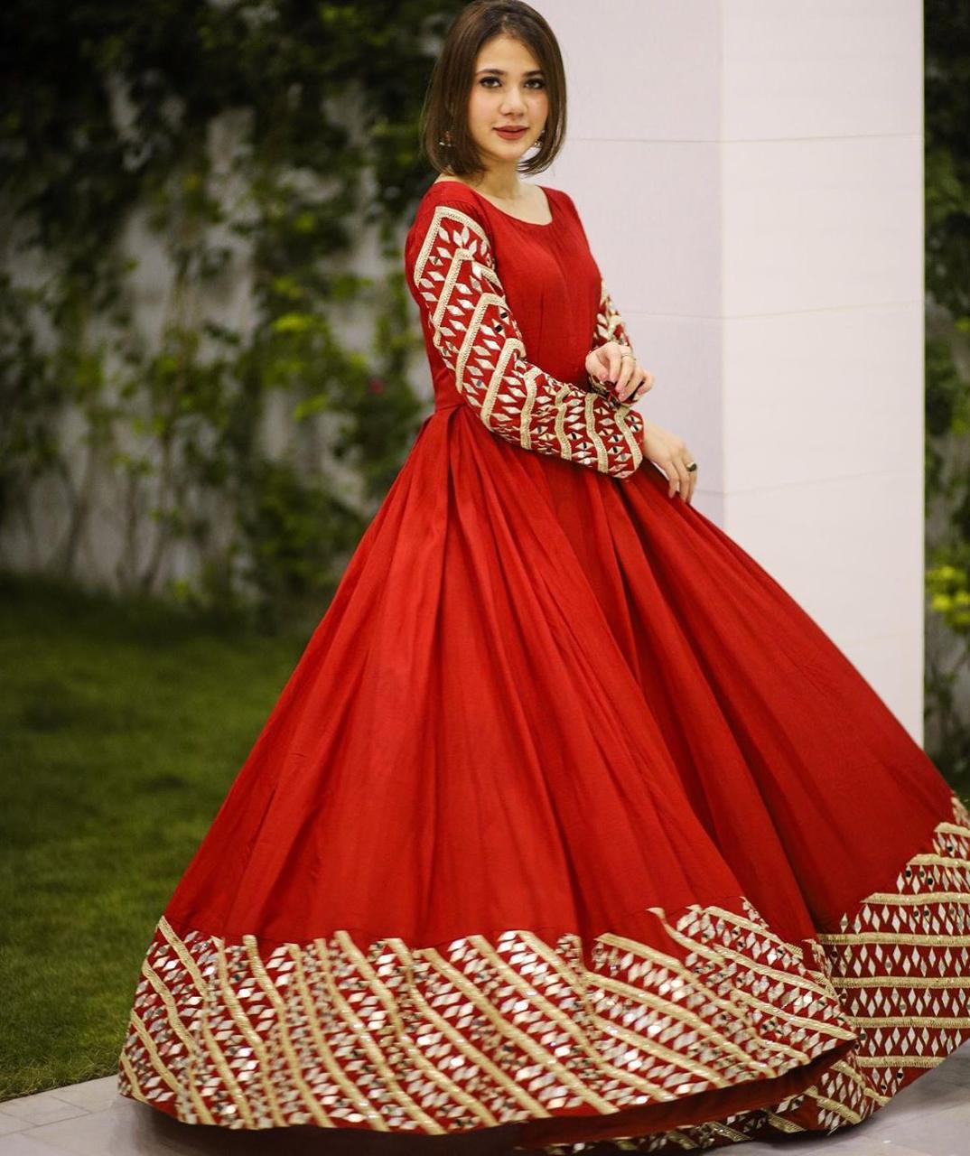 Wondrous Red Color Festive Wear Full Stitched Georgette Embroidered Zari Work Gown