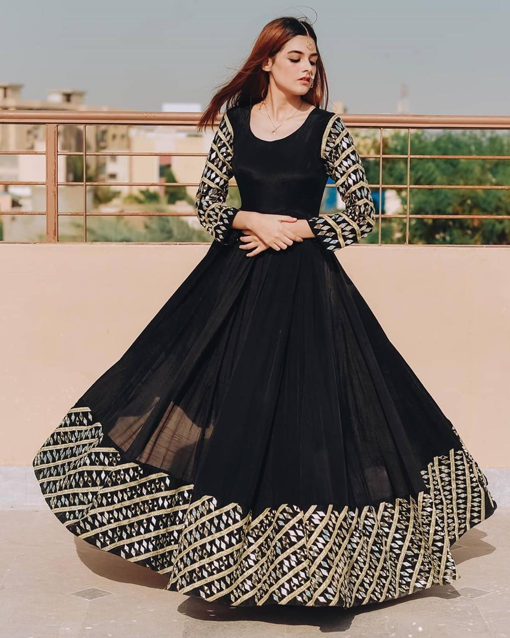 Dismaying Black Color Ready Made Georgette Zari Embroidered Work Party Wear Gown