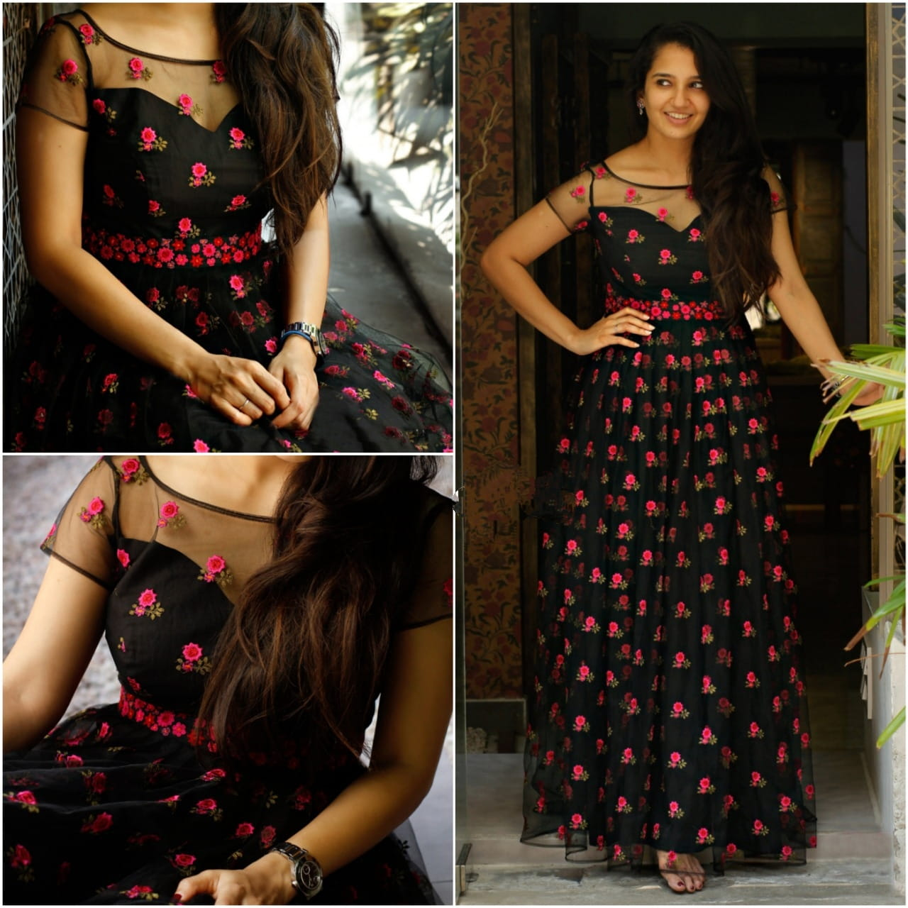 Stupendous Black Color Full Stitched Georgette All Over Embroidered Work Designer Wedding Wear Gown