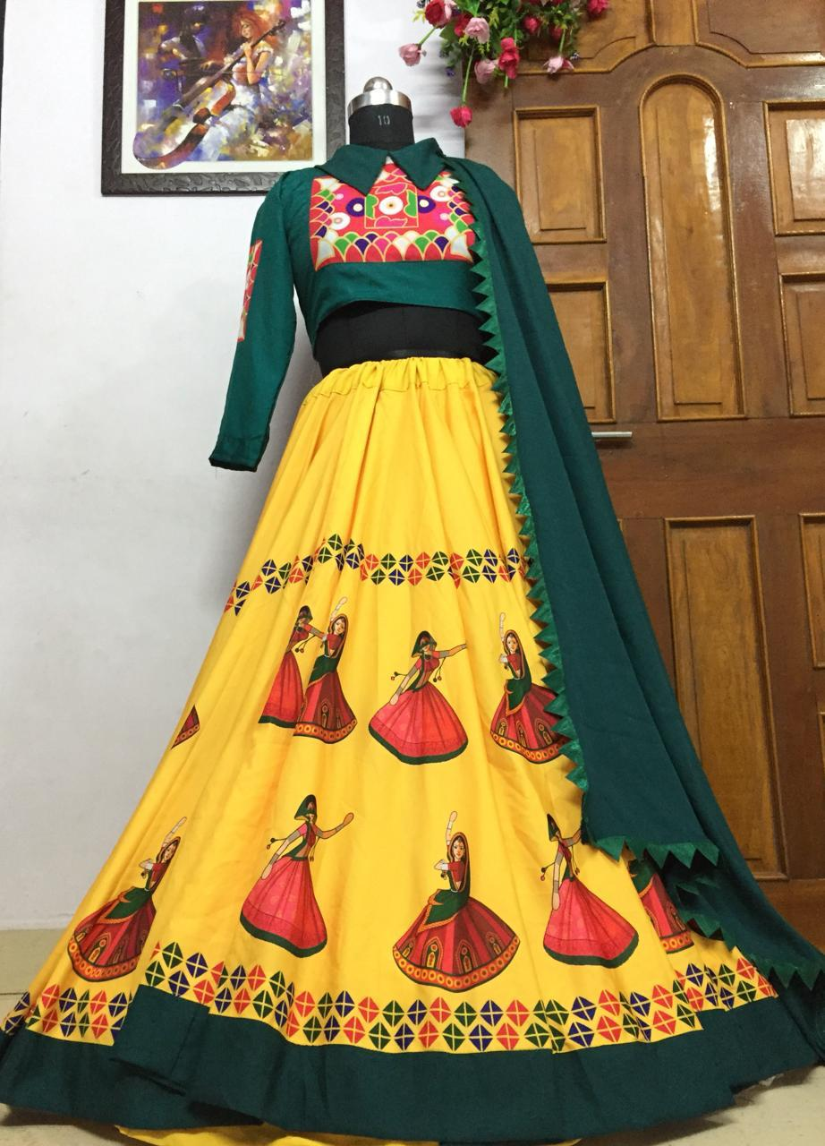 Capricious Yellow Color Designer Soft Silk Fancy Digital Printed Festival Wear Lehenga Choli