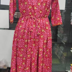 Amazing Pink Color Ready Made Poly Rayon Designer Printed With Lace Party Wear Gown
