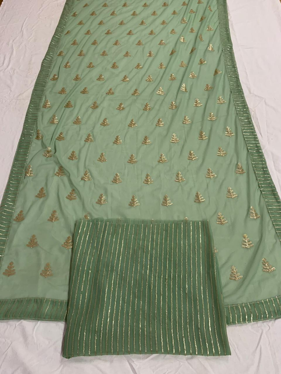 Stunning Mehendi Green Color Designer Georgette Sequence Work Wedding Wear Saree For Wedding Wear