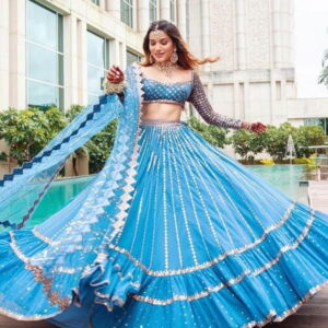 Wonderful Sky Blue Color Designer Georgette Sequence Work Wedding Wear Lehenga Choli
