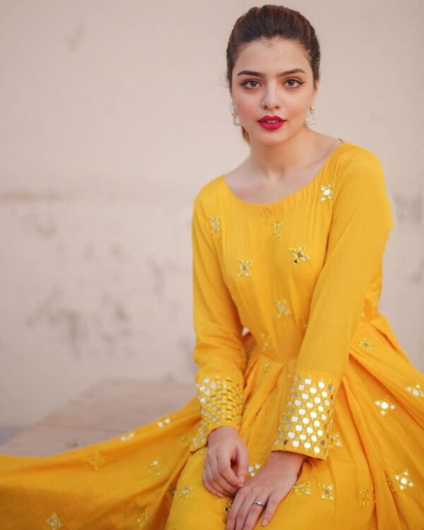 Party Yellow Color Festive Wear Full Stitched Stylish Georgette Zari Embroidered Work Gown
