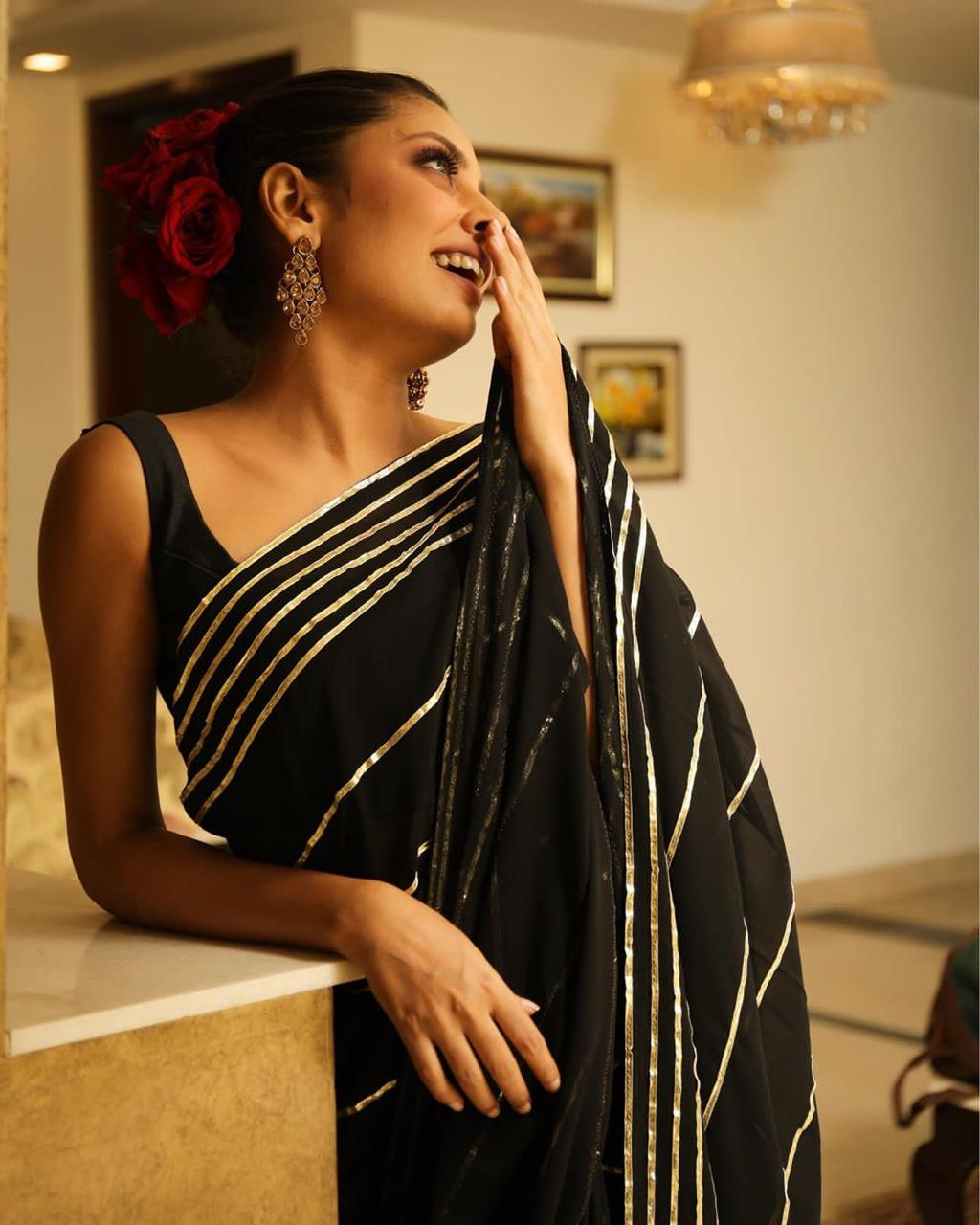 Tremendously Black Color Party Wear Gotta Patti Silver Work Designer Georgette Saree Blouse For Ladies
