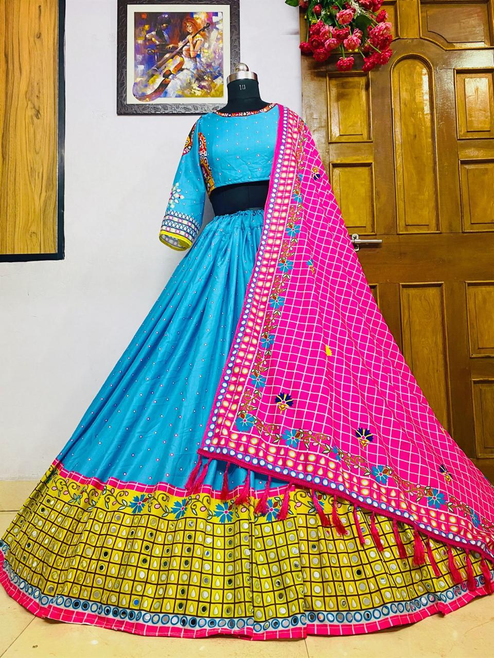 Classy Sky Blue Color Fancy Real Mirror Work Digital Printed Soft Butter Silk Function Wear Lehenga Choli