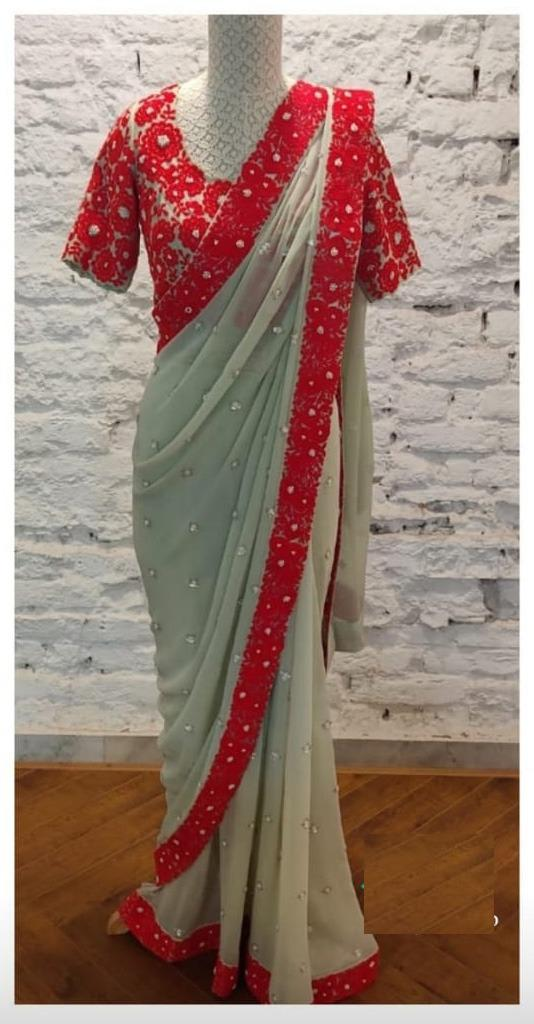 Exceptional Sea Green Color Party Wear Georgette Chain Stitch Sequence Work All Over Saree Blouse