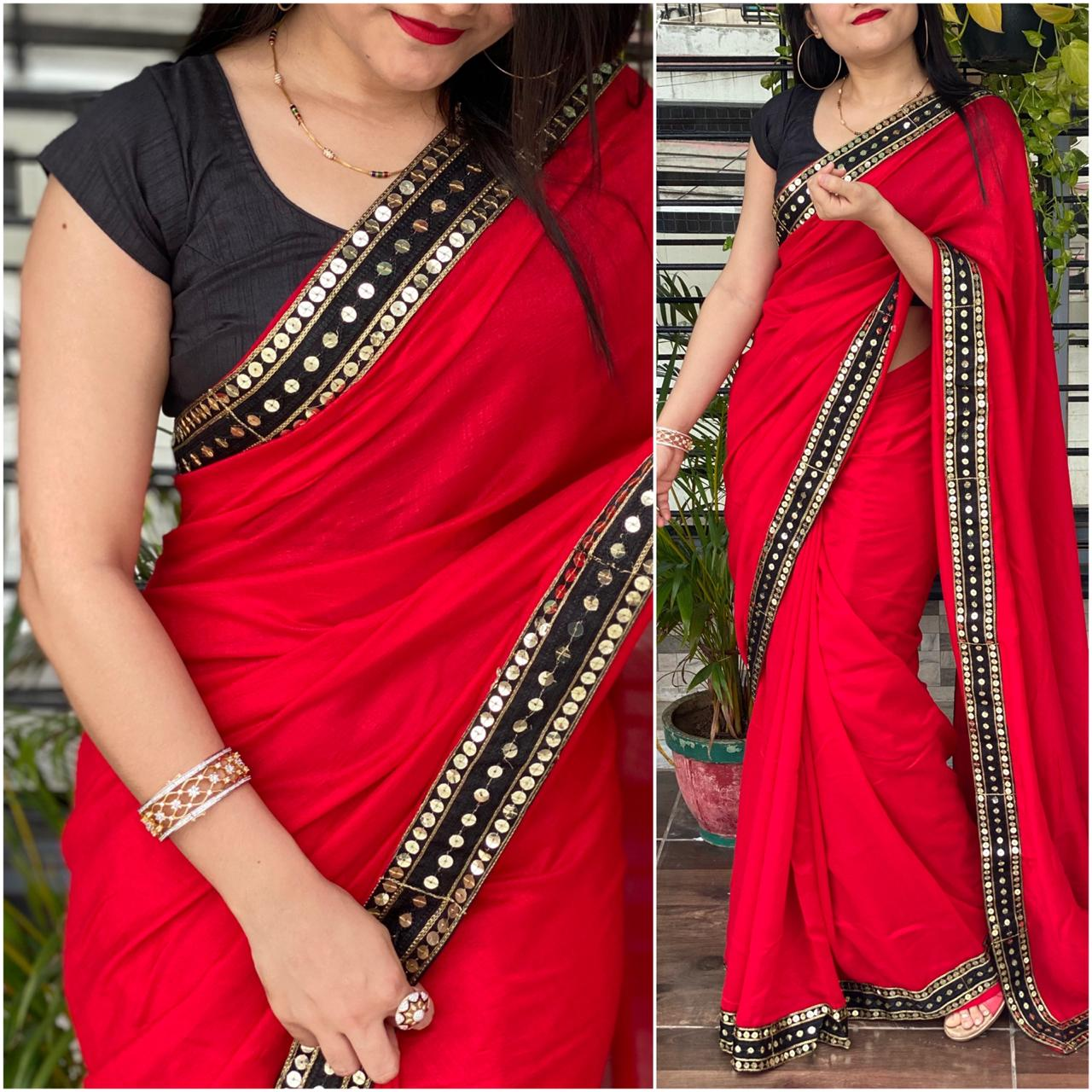 Fabulous Red Color Designer Vichitra Silk Fancy Sequence Work Lace Saree Blouse For Wedding Wear
