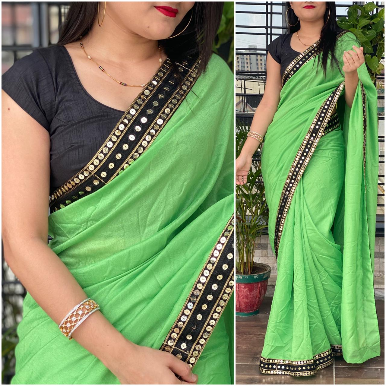 Unique Light Green Color Function Wear Vichitra Silk Fancy Lace Sequence Work Saree Blouse