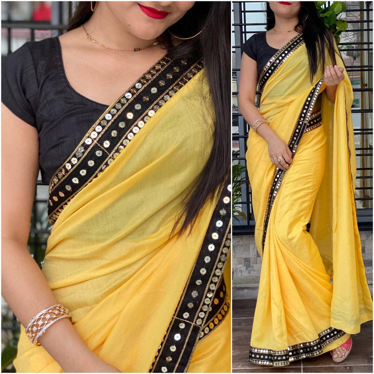 Eye catching Yellow Color Designer Sequence Lace Work Beautiful Vichitra Silk Saree Blouse For Festival Wear