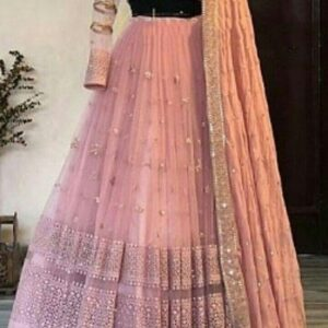Captivation Peach Color Designer Georgette Chain Stitch Work Wedding Wear Lehenga Choli