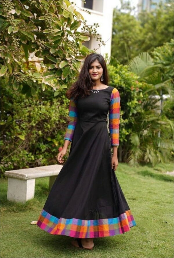 Adorable Black Color Ready Made Fancy Border Rayon Designer Festive Wear Gown For Ladies