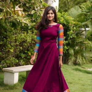 Jazzy partywear Wine Color Designer Rayon Plain Beautiful Border Full Stitched Gown