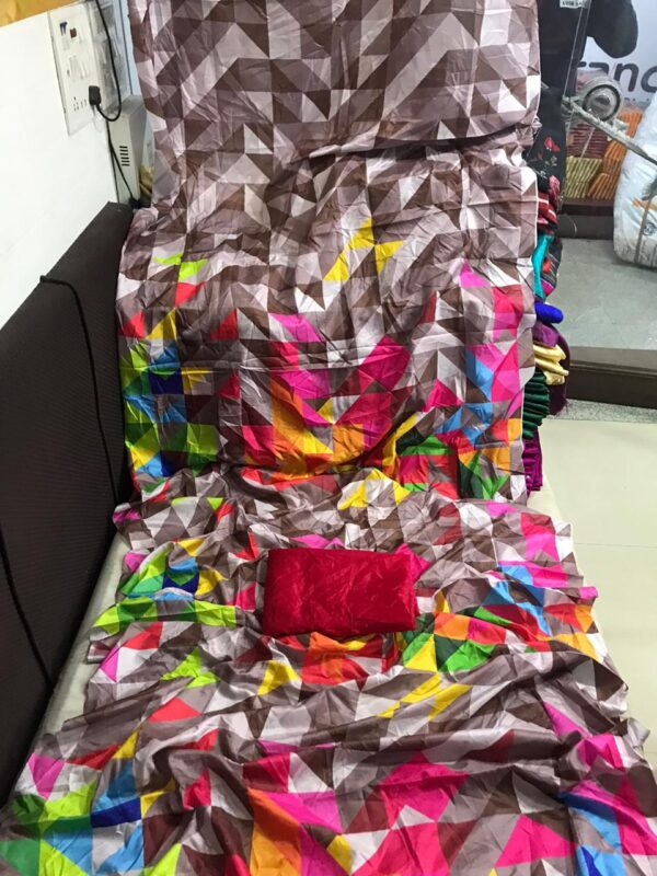 Stupendous Multi Color Satin Silk Designer Digital Printed Saree Blouse For Party Wear