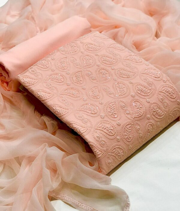 Breath taking Peach Color Function Wear Georgette Beautiful Sequence Lucknowi Work Salwar Suit For Ladies