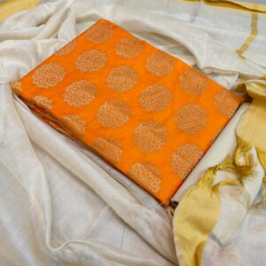 Exciting Orange Color Banarasi Beautiful Jacquard Salwar Suit For Festive Wear