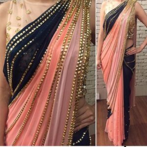 Gorgeous Peach Color Designer Georgette Sequence Ready Made Lace Stitching Work Saree Blouse For Wedding Wear