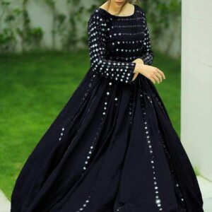 Mind blowing Black Color Full Stitched Georgette Embroidered Work Beautiful Wedding Wear Gown