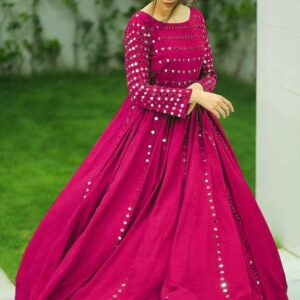 Staggering Rani Pink Color Ready Made Georgette Embroidered Work Party Wear Gown For Ladies