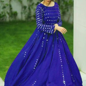 Eye catching Royal Blue Color Designer Full Stitched Function Wear Embroidered Work Georgette Gown For Ladies