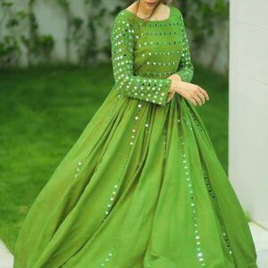 Captivation partywear Mehendi Green Color Ready Made Georgette Embroidered Work Fancy Gown For Ladies