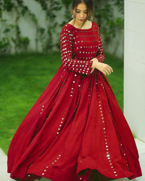 Party Red Color Fancy Embroidered Work beautiful Georgette Full Stitched Festive Wear Gown