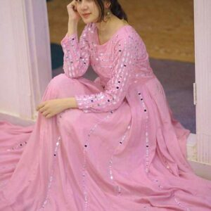 Stunning Baby Pink Color Full Stitched Function Wear Georgette Fancy Embroidered Work Gown For Ladies