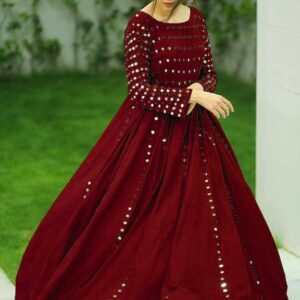 Wonderful Maroon Color Wedding Wear Designer Ready Made Georgette Embroidered Fancy Work Gown For Ladies