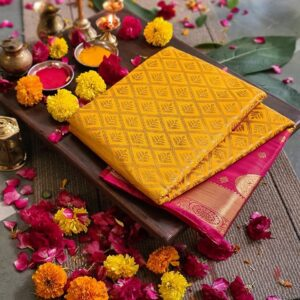 Desirable Yellow Color Nylon Silk Designer Rich Pallu Dying Material Saree Blouse For Party Wear