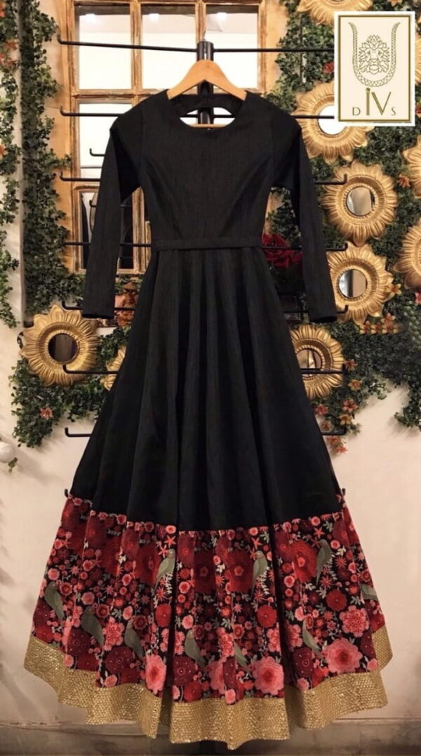 Fabulous Black Color Fancy Patola Printed American Silk Full Stitched Designer Party Wear Gown
