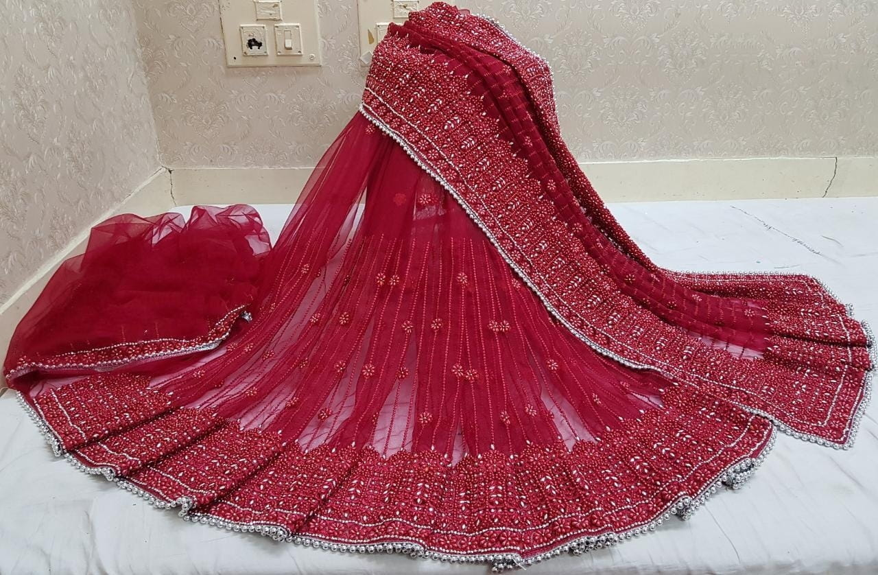 Surpassing Maroon Color Function Wear Net Embroidered Steel Stone LCD Pandadi Jarkhan Hand Work Saree Blouse