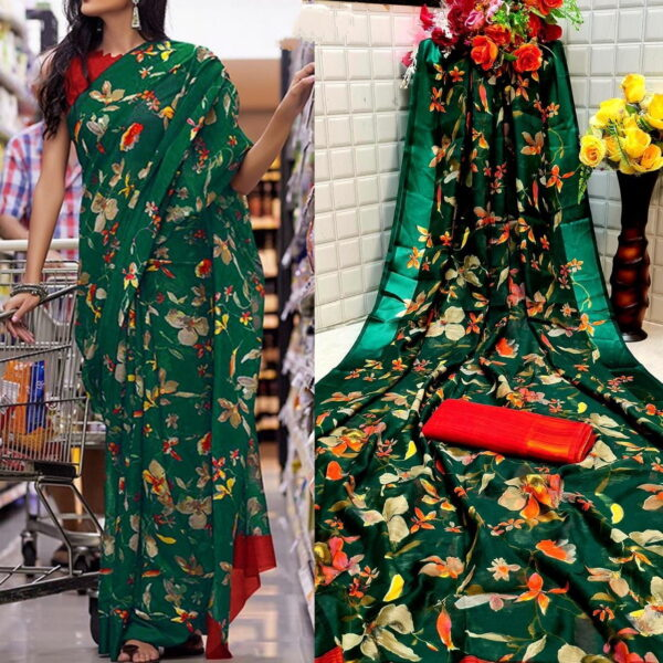 Shattering Dark Green Color Festive Wear Satin Cotton Rich Printed Patta Saree Blouse For Online