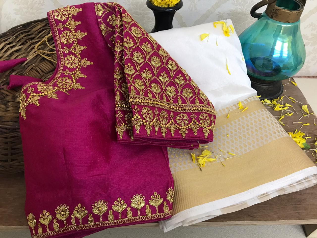 Preferable Wine Color Designer Raw Nylon Silk Chit Weaving Pallu Saree Ready Made Blouse For Festive Wear