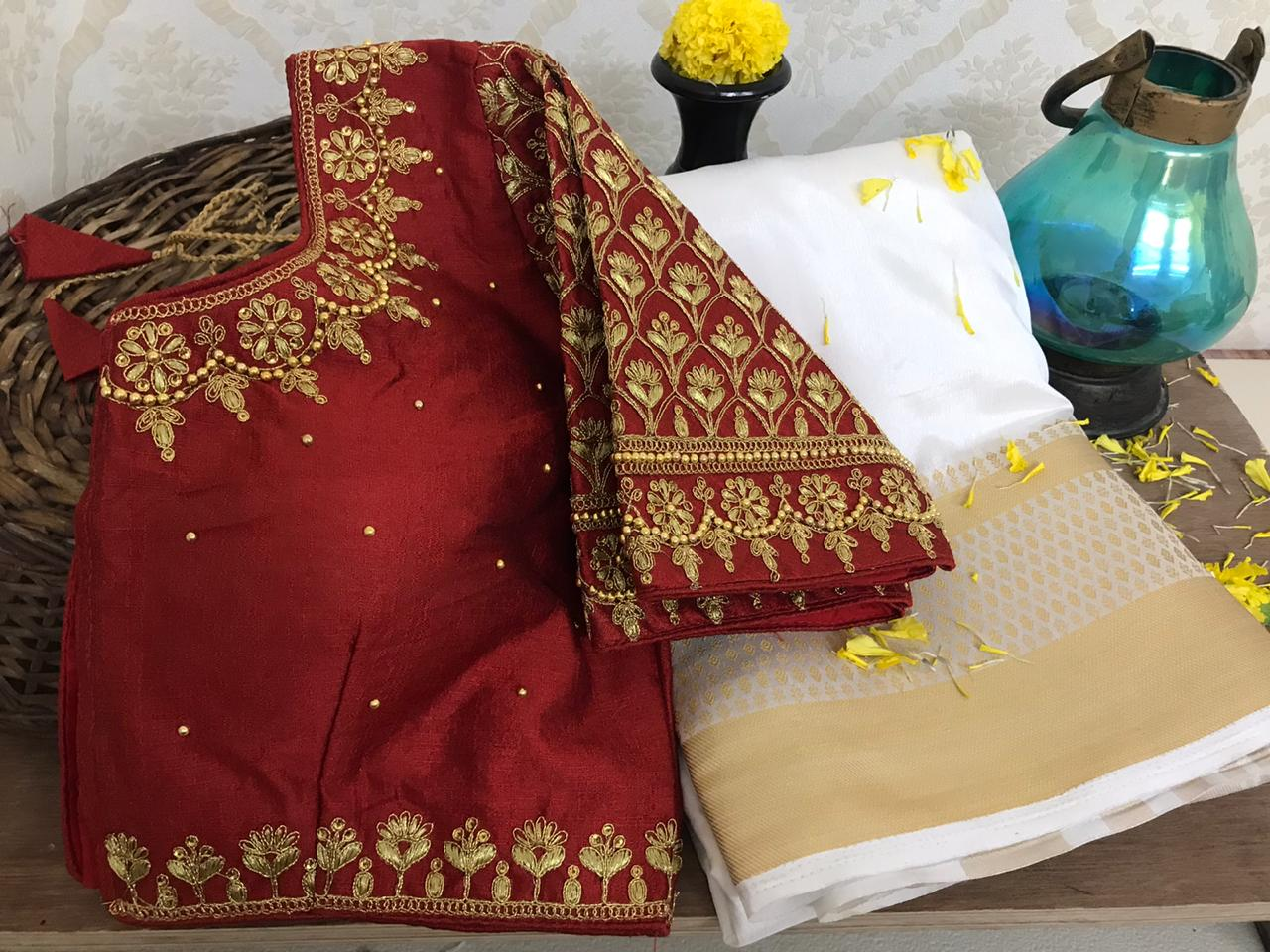 Admiring Maroon Color Function Wear Nylon Raw Silk Chit Pallu Weaving Saree Ready Made For Ladies
