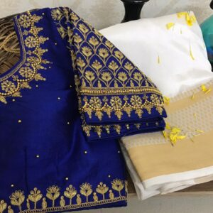 Eye catching Royal Blue Color Fancy Silk Ray Nylon Chit Pallu Weaving Saree Full Stitched Blouse For Occasion Wear