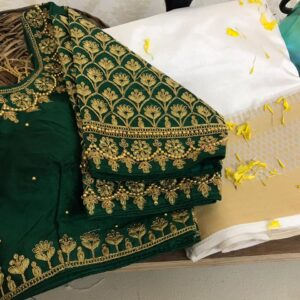 Majesty Dark Green Color Designer Weaving Chit Pallu Nylon Raw Silk Saree Ready Made Blouse For Party Wear