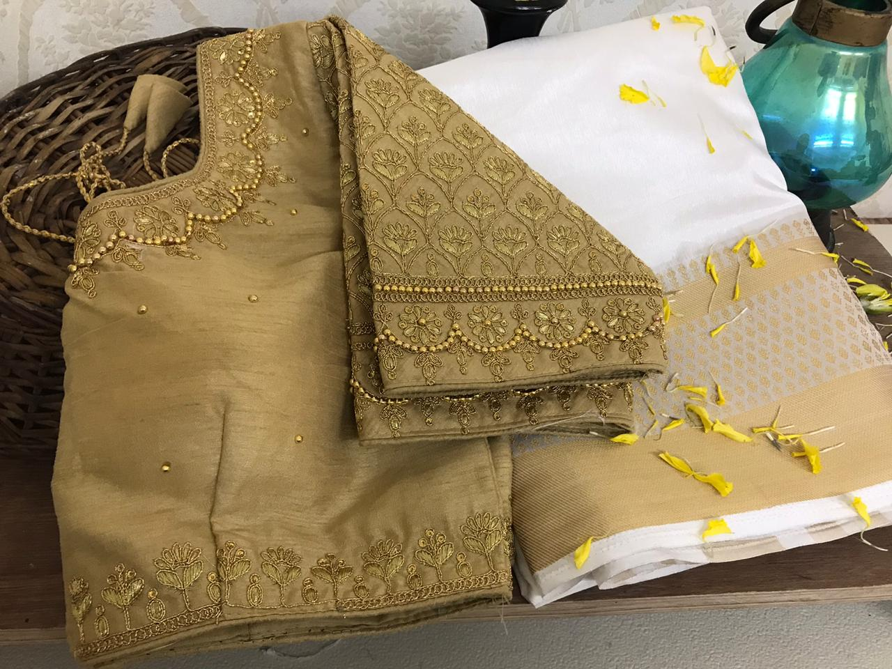 SurpassingWhite Color Fancy Nylon Raw Silk Chit Weaving Pallu Saree Full Stitched Blouse For Function Wear