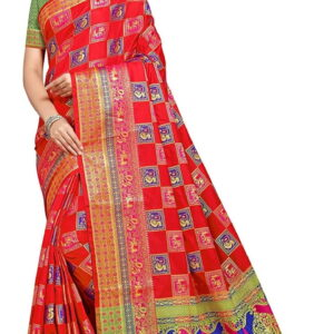 Unbelievable Red Color Designer Banarasi Silk Zari Contrast Pallu Elephant Peacock Design Saree Blouse For Wedding Wear