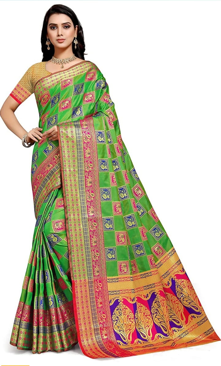Knockout Green Color Function Wear Contrast Pallu Elephant Peacock Design Zari Work Saree Blouse