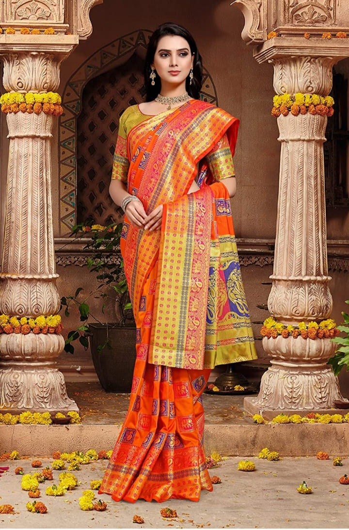 Refreshing Orange Color Beautiful Zari Contrast Peacock Elephant Design Rich Pallu Silk Banarasi Saree Blouse For Occasion Wear