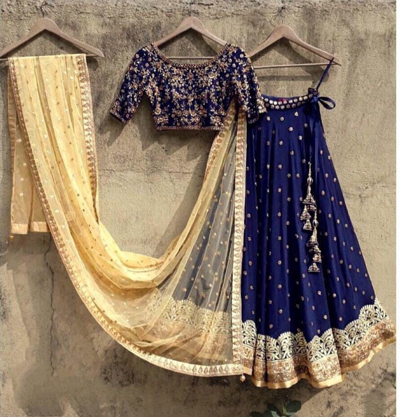 Surprising Wear Royal Blue Color Fancy Silk Banglori Embroidered Work Lehenga Choli For Ladies
