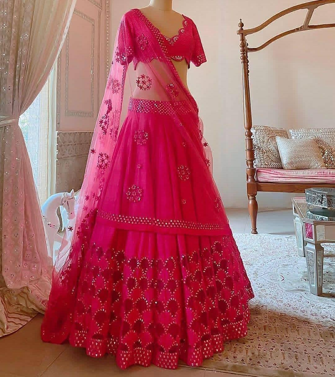 Festive Rani Pink Color Wedding Wear Tapeta Silk Designer Sequence Work Lehenga Choli
