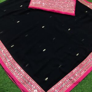 Sublime partywear Black Color Georgette Plastic Mirror Diamond Embroidered Work Designer Saree Blouse For Ladies