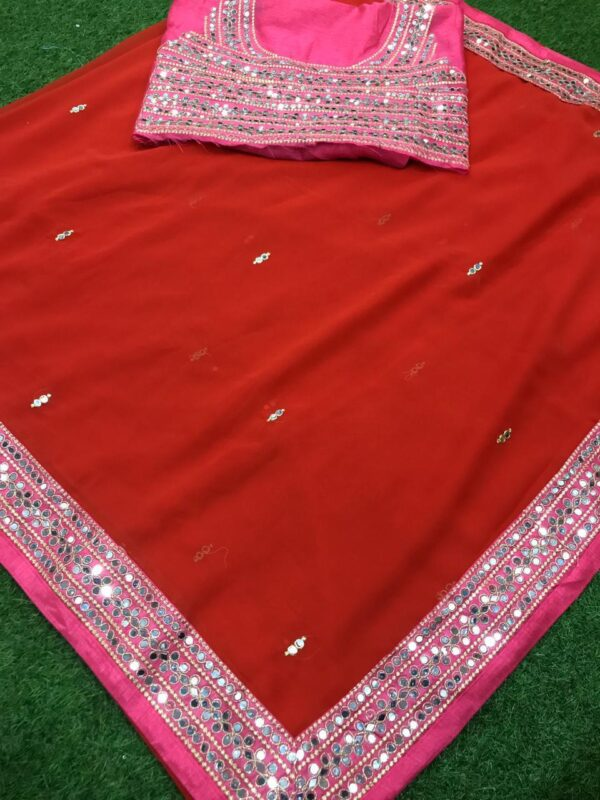 Party Red Color Festive Wear Embroidered Plastic Mirror Diamond Work Fancy Georgette Saree Blouse