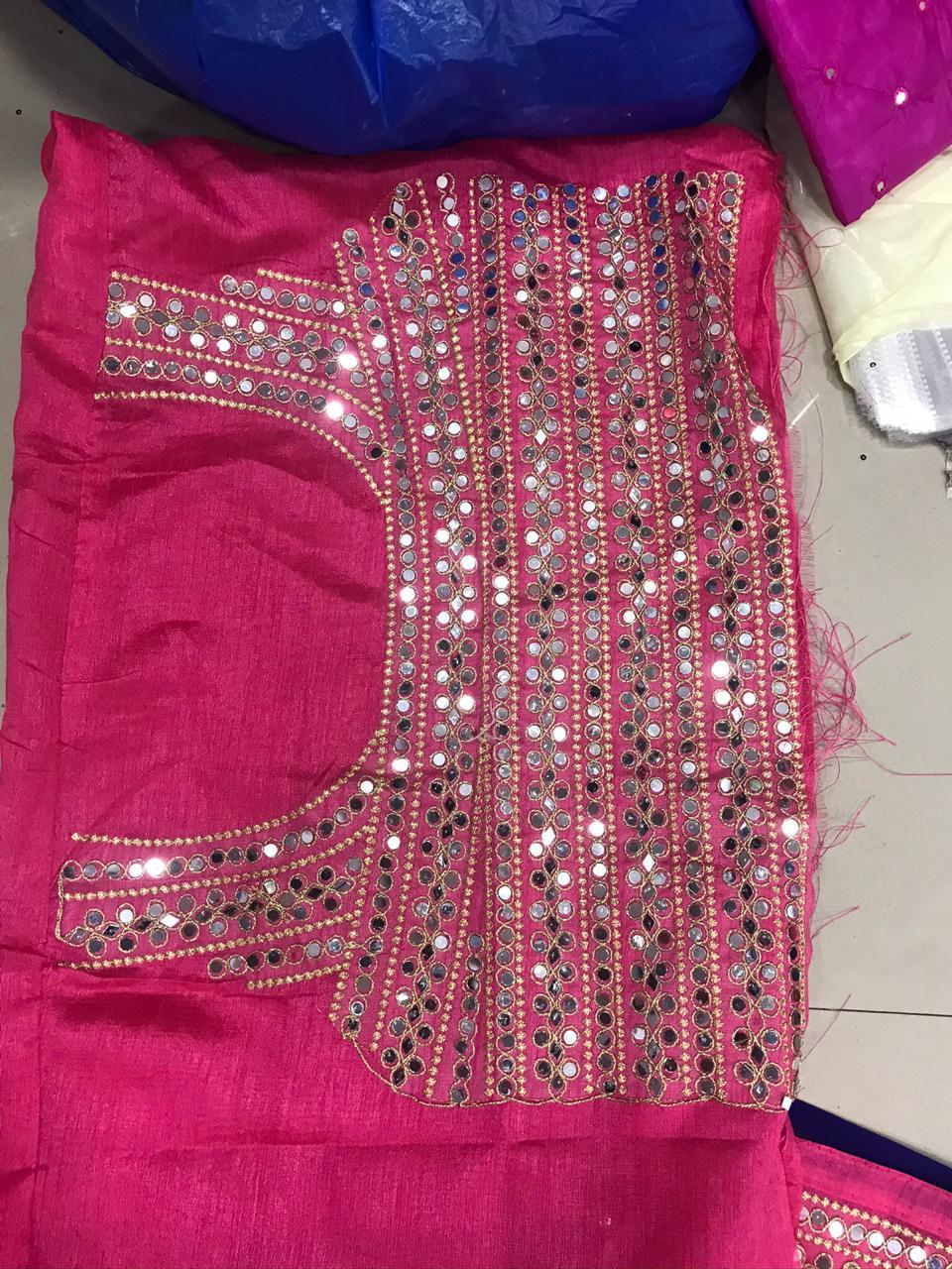 Tremendously Pink Color Fancy Embroidered Diamond Plastic Mirror Work Georgette Festive Wear Saree Blouse