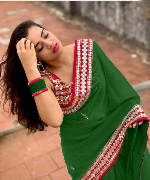 Startling Green Color Festival Wear Georgette Fancy Diamond Plastic Mirror Embroidered Work Saree Blouse For Ladies