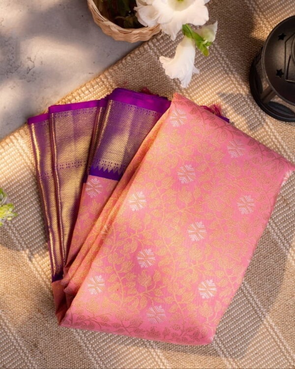 Astonishing Pink Color Wedding Wear Lichi Silk Jacquard Work All Over Saree Blouse For Ladies