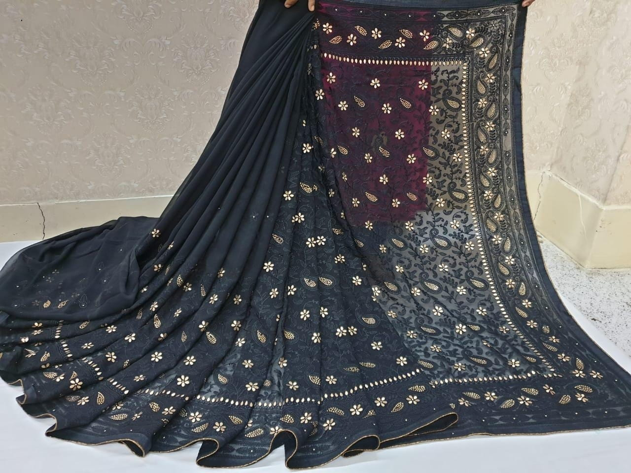 Breath taking Black Color Designer Diamond Chain Embroidered Work Banglori Patta Piping Saree Blouse For Function Wear