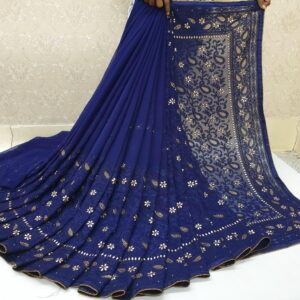 Fantastic Navy Blue Color Fancy Diamond Embroidered Chain Work Piping Banglori Patta Saree Blouse for Women