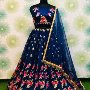 Wondrous Navy Blue Color Designer Zari Thread Embroidered Work Net Function Wear Lehenga Choli for Women